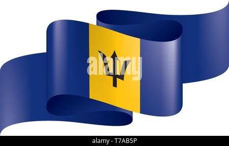 Barbados flag, vector illustration on a white background. - Stock Photo