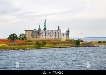 Kronborg Castle on the shore in Helsingor - Stock Photo