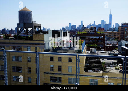 View of Lower Manhattan with One World Trade Center in distance from the outdoor terrace of Whitney Museum of American Art.Manhattan.New York City.USA - Stock Photo