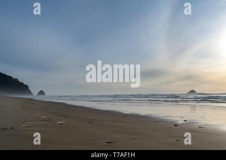 View of Large Oregon Beach At Dusk With Mostly Clear Skies - Stock Photo