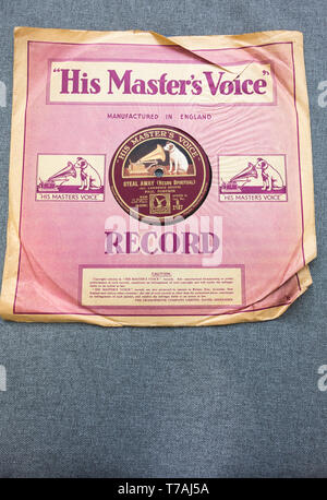 His Master's Voice record label with Steal Away by Paul Robeson on an old 78-rpm shellac record - Stock Photo