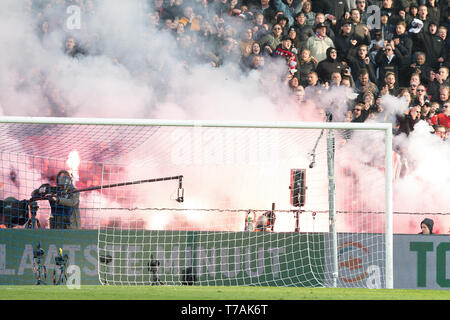 5 may 2019 Rotterdam, The Netherlands Soccer Dutch Cupfinal Willem II v Ajax  KNVB Bekerfinale 2019  Vuurwerk - Stock Photo