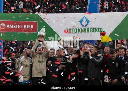5 may 2019 Rotterdam, The Netherlands Soccer Dutch Cupfinal Willem II v Ajax  KNVB Bekerfinale 2019  Ajax - Stock Photo