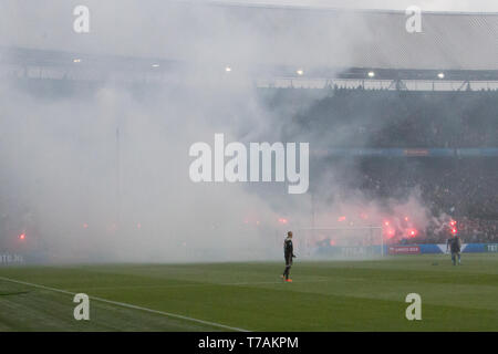 5 may 2019 Rotterdam, The Netherlands Soccer Dutch Cupfinal Willem II v Ajax  KNVB Bekerfinale 2019  Fakkels Ajax zijde - Stock Photo