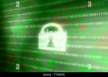 Cyber security access lock on binary matrix green background Internet online data protection - Stock Photo