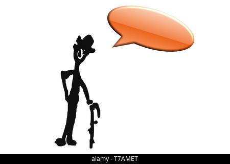 Drawn figure reduced to the essentials against white background with copy space. - Stock Photo