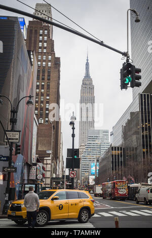 NEW YORK, USA - FEBRUARY 23, 2018: Typical business day in New York in downtown Manhattan - Stock Photo