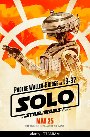 Solo: A Star Wars Story (2018) directed by Ron Howard introducing the  self-made piloting droid L3-37 voiced by Phoebe Waller-Bridge. - Stock Photo