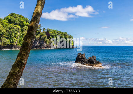 Bay north of Hilo, on Hawaii's Big Island. Palm tree in foreground; rock visible above blue sea. Green coastline, blue sky and clouds visible in the d - Stock Photo