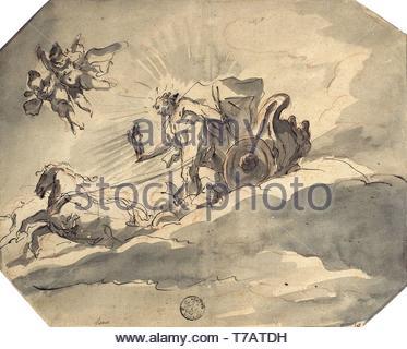 Cosmas-Damian-Asam-Apollo in his Chariot - Stock Photo