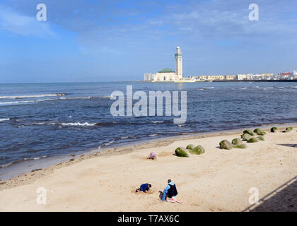 Children playing on a small beach in Casablanca, Morocco. Stock Photo