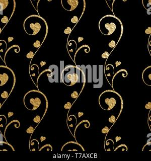 Seamless pattern for floral vector design. Abstract stylized flowers with heart bud. Golden outlines on the black background - Stock Photo