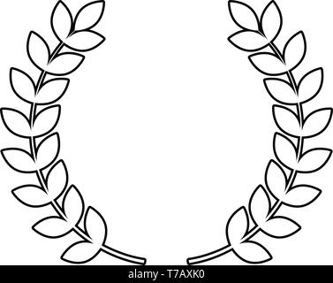 Branch of winner Laurel wreaths Symbol of victory icon outline black color vector illustration flat style simple image - Stock Photo