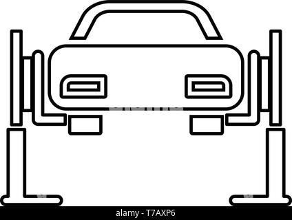 Car lift Car repair Service concept Car on fix lift Car lifted on auto lift icon outline black color vector illustration flat style simple image - Stock Photo
