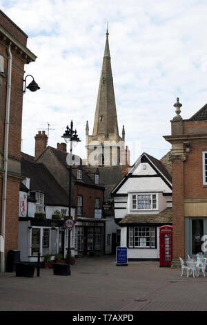 Market Place and All Saints Church, Evesham, Worcestershire, England, UK - Stock Photo