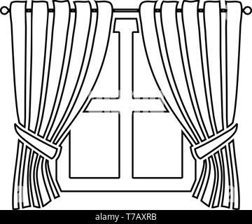 Curtains and window Interior concept Home window view decoration Waving curtains on window icon outline black color vector illustration flat style - Stock Photo