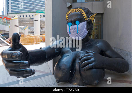 Nang Phisuea Samut, fiberglass sculture, after a character in Thai literature, Siam Square, Pathum Wan district, Bangkok, Thailand - Stock Photo