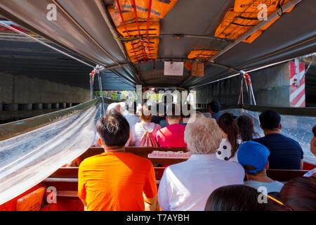 Long tail passenger boat, Khlong Suen Saeb, Bangkok, Thailand - Stock Photo