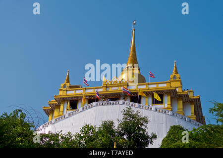 Phu Khao Thong, The Golden Mountain, Wat Saket, Pom Prap Sattru Phai district, Bangkok, Thailand - Stock Photo