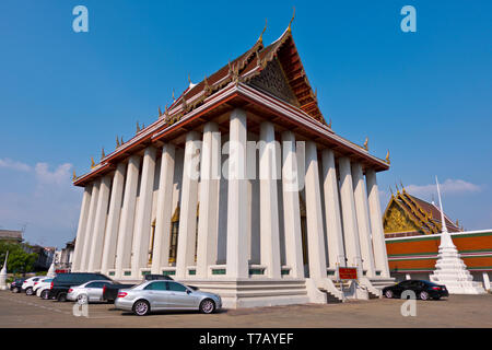 Buddha image hall, main wihan, Wat Saket, Pom Prap Sattru Phai district, Bangkok, Thailand - Stock Photo