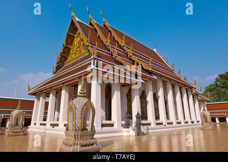 Ordination Hall, Wednesday Buddha Temple, Wat Saket, Pom Prap Sattru Phai district, Bangkok, Thailand - Stock Photo