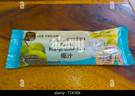 Thai coconut milk ice cream, Bangkok, Thailand - Stock Photo