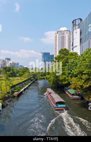 Long tail boat, Khlong Suen Saeb, Bangkok, Thailand - Stock Photo