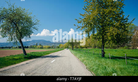 Car driving on the empty road towar Vosges mountains in France clear blue sky and green grass - Stock Photo