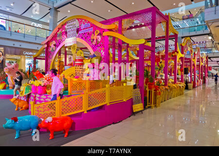 Chinese new year 2019 decorations, CentralWorld shopping mall, Pathum Wan district, Bangkok, Thailand - Stock Photo