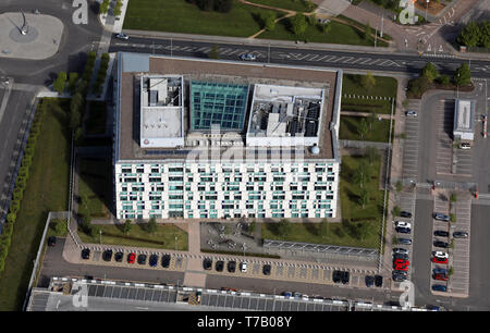 aerial view of Greater Manchester Police Headquarters, Monsall, Moston Vale, Manchester - Stock Photo