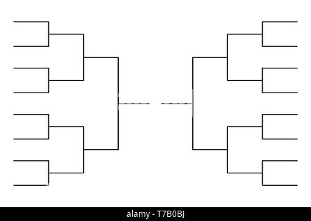 Simple black tournament bracket template for 8 teams isolated on