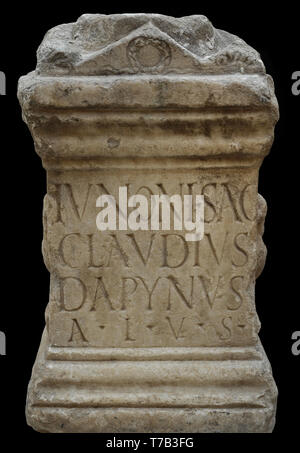 Altar stone consecrated to the Goddess Juno. 1st century AD. Marble. From Augusta Emerita (Merida, Badajoz province, Extremadura, Spain). National Archaeological Museum. Madrid. Spain. - Stock Photo