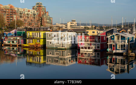Floating homes at Fisherman's Wharf in Victoria, British Columb ia, Canada. - Stock Photo