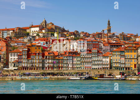 View of the town and River Douro in Porto, Portugal - Stock Photo