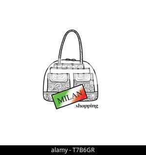Italy travel sign. Milan city shopping label. Shop bag italian symbol. Fashion icon. - Stock Photo