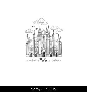 Milan landmark symbol. Travel Italy city icon. Hand drawn sketch. Duomo cathedral in Milan - Stock Photo