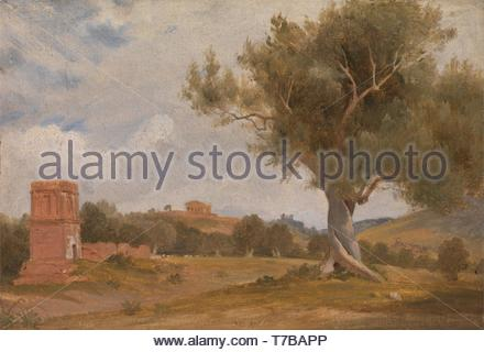 Charles-Lock-Eastlake-A View at Girgenti in Sicily with the Temple of Concord and Juno - Stock Photo