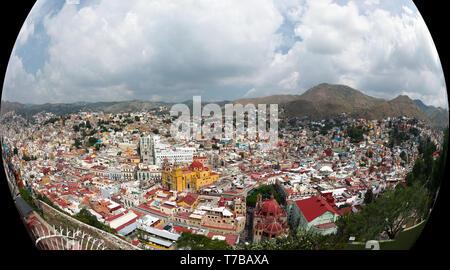 Panoramic fish-eye view of the Guanajuato City historic center, Guanajuato, Mexico. - Stock Photo