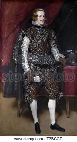 Diego-Velzquez-Philip IV in Brown and Silver - Stock Photo