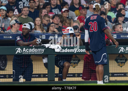 May 04, 2019 Houston Texans cornerback Aaron Colvin (22), Houston Texans safty Justin Reid (20)during the JJ Watt Charity Classic, a softball game that provides funding for after-school athletic programs enhancing opportunities for middle-school aged children in the community to become involved in athletics, so that they may learn the character traits of accountability, teamwork, leadership, work ethic and perseverance, while in a safe and supervised environment with their peers Maria Lysaker/CSM - Stock Photo