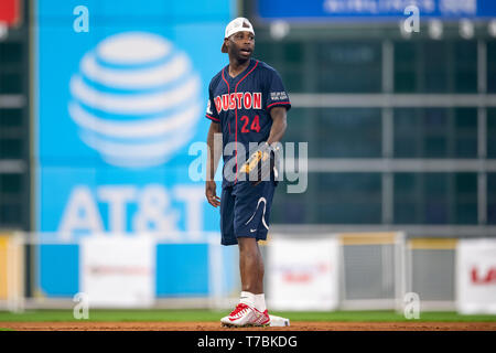May 04, 2019 Houston Texans cornerback Johnathan Joseph (24) during the JJ Watt Charity Classic, a softball game that provides funding for after-school athletic programs enhancing opportunities for middle-school aged children in the community to become involved in athletics, so that they may learn the character traits of accountability, teamwork, leadership, work ethic and perseverance, while in a safe and supervised environment with their peers Maria Lysaker/CSM - Stock Photo