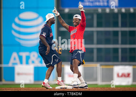 May 04, 2019 Houston Texans cornerback Johnathan Joseph (24) and quarterback Deshaun Watson (4) during the JJ Watt Charity Classic, a softball game that provides funding for after-school athletic programs enhancing opportunities for middle-school aged children in the community to become involved in athletics, so that they may learn the character traits of accountability, teamwork, leadership, work ethic and perseverance, while in a safe and supervised environment with their peers Maria Lysaker/CSM - Stock Photo