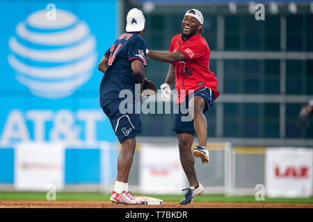 May 04, 2019 Houston Texans wide receiver Keke Coutee (16) and cornerback Johnathan Joseph (24) during the JJ Watt Charity Classic, a softball game that provides funding for after-school athletic programs enhancing opportunities for middle-school aged children in the community to become involved in athletics, so that they may learn the character traits of accountability, teamwork, leadership, work ethic and perseverance, while in a safe and supervised environment with their peers Maria Lysaker/CSM - Stock Photo