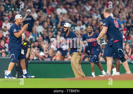 May 04, 2019 Houston Texans cornerback Bradley Roby (21), cornerback Aaron Colvin (22), defensive end J.J. Watt (99) and outside linebacker Brennan Scarlett (57) during the JJ Watt Charity Classic, a softball game that provides funding for after-school athletic programs enhancing opportunities for middle-school aged children in the community to become involved in athletics, so that they may learn the character traits of accountability, teamwork, leadership, work ethic and perseverance, while in a safe and supervised environment with their peers Maria Lysaker/CSM - Stock Photo