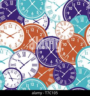 Clock`s seamless pattern. Color texture of time. - Stock Photo