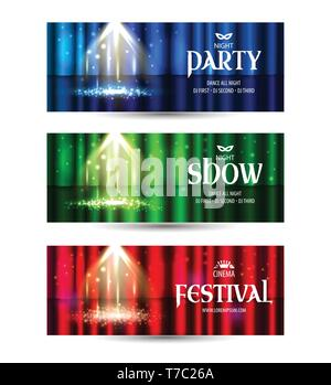 Theatrical background with a curtain and a scene. Light on a floor. Vector illustration horizontal banners set. - Stock Photo