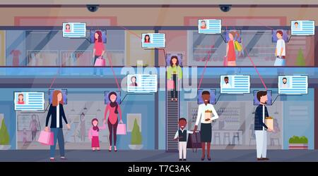 mix race visitors walking modern shopping mall identification facial recognition concept security camera surveillance cctv system supermarket interior - Stock Photo