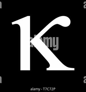 Illustration of Kappa greek sign on dark background - Stock Photo