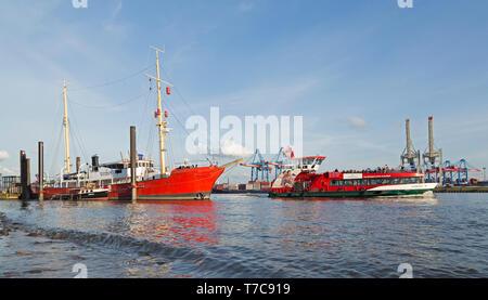lightship Elbe 3, Oevelgoenne and Container Terminal Burchardkai, Hamburg, Germany - Stock Photo