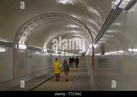 newly refurbished tunnel, Old Elbe Tunnel, Hamburg, Germany - Stock Photo